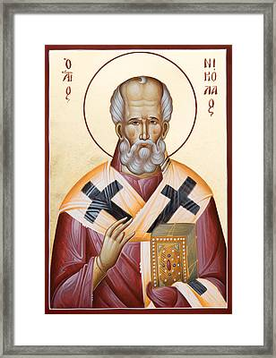 St Nicholas Of Myra Framed Print by Julia Bridget Hayes