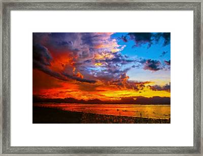 Sunset On The Sea Framed Print by Bruce Nutting