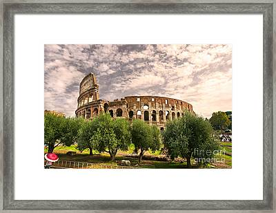 The Majestic Coliseum - Rome Framed Print by Luciano Mortula