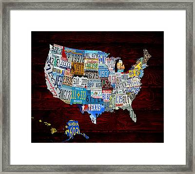 The Usa License Tag Map 3s Framed Print by Brian Reaves