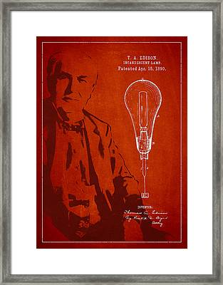 Thomas Edison Incandescent Lamp Patent Drawing From 1890 Framed Print by Aged Pixel