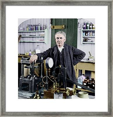 Thomas Edison Framed Print by Library Of Congress
