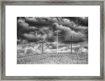 Three Crosses On Hill Framed Print by Thomas R Fletcher