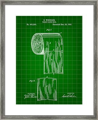 Toilet Paper Roll Patent 1891 - Green Framed Print by Stephen Younts