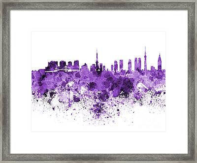 Tokyo Skyline In Watercolor On White Background Framed Print by Pablo Romero