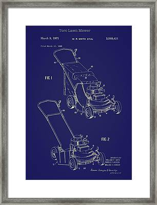 Toro Lawn Mower Patent 1971 Framed Print by Mountain Dreams