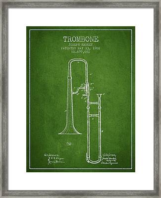 Trombone Patent From 1902 - Green Framed Print by Aged Pixel