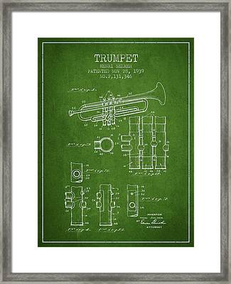 Trumpet Patent From 1939 - Green Framed Print by Aged Pixel