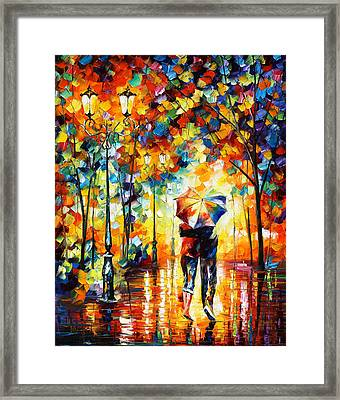 Under One Umbrella Framed Print by Leonid Afremov