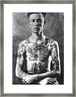 Vintage Tattoo Photograph And Flash Art Framed Print by Larry Mora