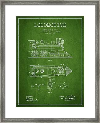 Vintage Locomotive Patent From 1904 Framed Print by Aged Pixel
