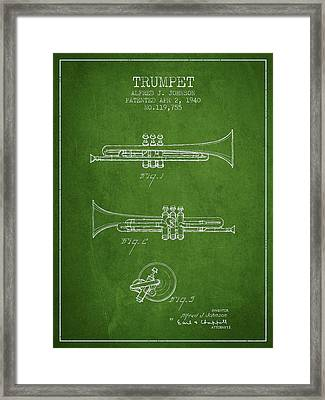 Vintage Trumpet Patent From 1940 - Green Framed Print by Aged Pixel