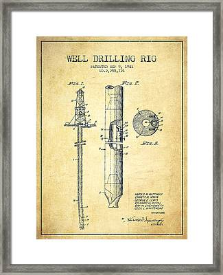 Vintage Well Drilling Rig Patent From 1941 Framed Print by Aged Pixel