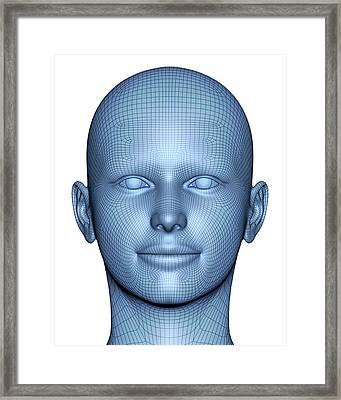 Wireframe Head Framed Print by Alfred Pasieka