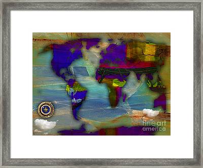 World Map And Compass Watercolor Framed Print by Marvin Blaine