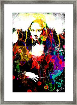 31x48 Mona Lisa Screwed - Huge Signed Art Abstract Paintings Modern Www.splashyartist.com Framed Print by Robert R Splashy Art Abstract Paintings