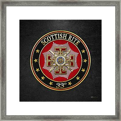 33rd Degree - Inspector General Jewel On Black Leather Framed Print by Serge Averbukh