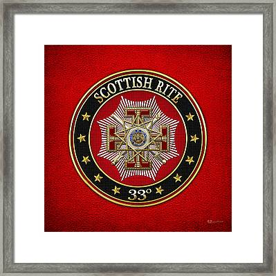 33rd Degree - Inspector General Jewel On Red Leather Framed Print by Serge Averbukh
