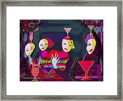 349 - Crazy Cocktail Bar   Framed Print by Irmgard Schoendorf Welch