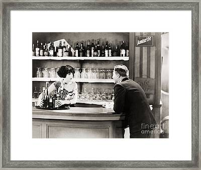 Silent Film Still: Drinking Framed Print by Granger