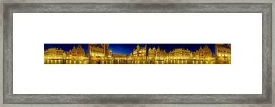 360 Degree View Of The Grand Place Lit Framed Print by Panoramic Images