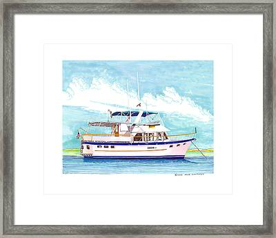 37 Foot Marine Trader 37 Trawler Yacht At Anchor Framed Print by Jack Pumphrey