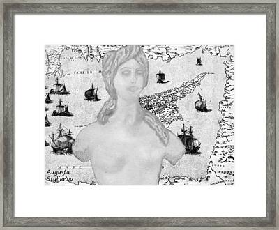 Ancient Cyprus Map And Aphrodite Framed Print by Augusta Stylianou