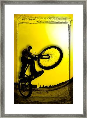 3d Image Of Silhouette Of Cyclist Framed Print by Corey Hochachka