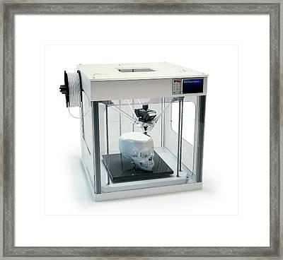 3d Printer Printing Skull Framed Print by Andrzej Wojcicki
