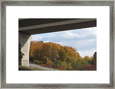Bridge Wild Fall Colors Trees Skyview Sky Bluesky  Decorations Deco Artistic By Navinjoshi          Framed Print by Navin Joshi