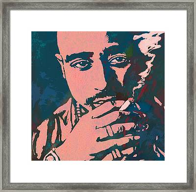 2pac Tupac Shakur Stylised Pop Art Poster Framed Print by Kim Wang