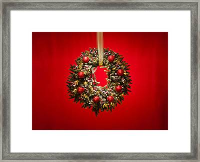 Advent Wreath Over Red Background Framed Print by Ulrich Schade