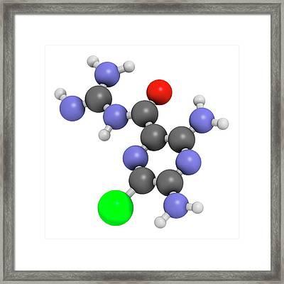 Amiloride Diuretic Drug Molecule Framed Print by Molekuul