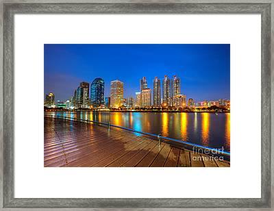 Bangkok City Night Skyline Framed Print by Fototrav Print