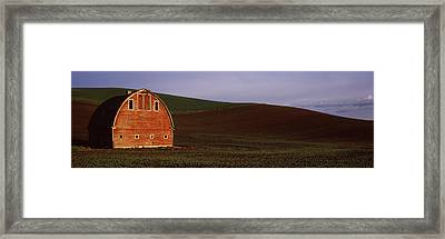 Barn In A Field At Sunset, Palouse Framed Print by Panoramic Images