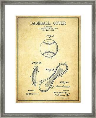 Baseball Cover Patent Drawing From 1924 Framed Print by Aged Pixel