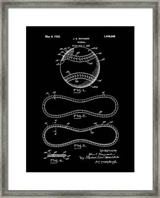 Baseball Patent 1927 - Black Framed Print by Stephen Younts