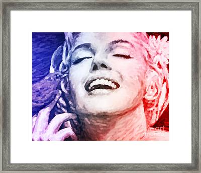 Blue And Red Beauty Framed Print by Atiketta Sangasaeng