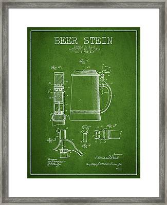 Beer Stein Patent From 1914 - Green Framed Print by Aged Pixel