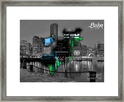 Boston Map And Skyline Watercolor Framed Print by Marvin Blaine