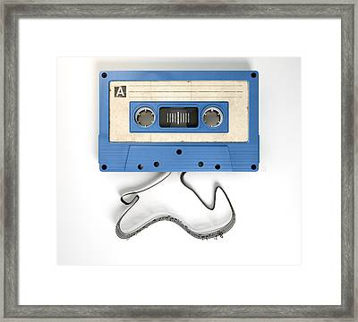 Cassette Tape And Musical Notes Concept Framed Print by Allan Swart