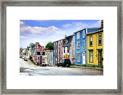 Colorful Houses In St. John's Framed Print by Elena Elisseeva