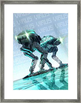 Computer Virus Framed Print by Victor Habbick Visions