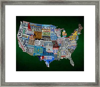 License Tag Usa Map Framed Print by Brian Reaves