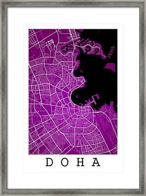 Doha Street Map - Doha Qatar Road Map Art On Color Framed Print by Jurq Studio