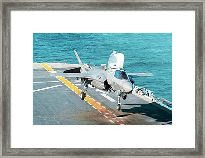 F-35b Fighter Jet Framed Print by Us Defense