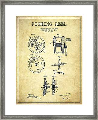 Fishing Reel Patent From 1896 Framed Print by Aged Pixel