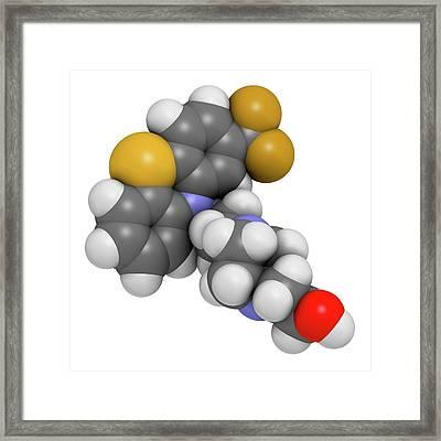 Fluphenazine Antipsychotic Drug Molecule Framed Print by Molekuul