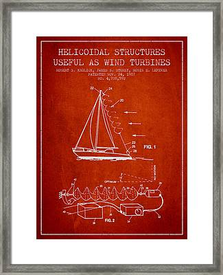 Helicoidal Structures Useful As Wind Turbines Patent From 1987 - Framed Print by Aged Pixel
