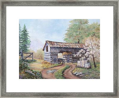 Barn At Cades Cove Framed Print by Frances Lewis